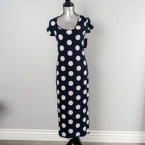 NWT Polka Dot Cap Sleeve Day Dress - Navy - medium